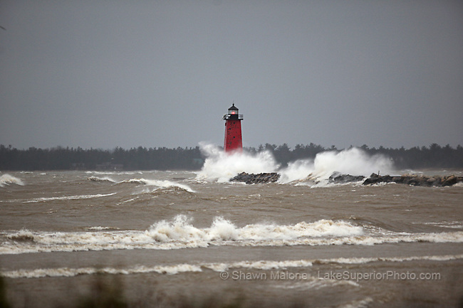 Manistique Lighthouse storm lighthouses in the Upper Peninsula of Michigan