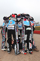 Lakeside Hammers 2015 in a huddle - Lakeside Hammers Speedway Press & Practice Day at Arena Essex Raceway - 20/03/15 - MANDATORY CREDIT: Gavin Ellis/TGSPHOTO - Self billing applies where appropriate - contact@tgsphoto.co.uk - NO UNPAID USE
