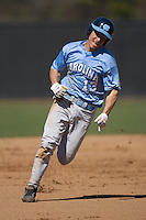 Dustin Ackley (13) of the North Carolina Tar Heels hustles into third base versus the St. John's Red Storm at the 2008 Coca-Cola Classic at the Winthrop Ballpark in Rock Hill, SC, Sunday, March 2, 2008.
