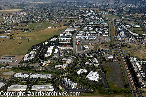aerial photograph office and retail commercial real estate Petaluma, Sonoma county, California