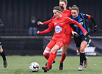 Stephanie Suenens (17) of Woluwe pictured in action during a female soccer game between Club Brugge Dames YLA and White Star Woluwe on the 12 th matchday of the 2020 - 2021 season of Belgian Scooore Womens Super League , saturday 30 January 2021  in Brugge , Belgium . PHOTO SPORTPIX.BE | SPP | DAVID CATRY