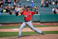 Keith Hessler (54) of the Albuquerque Isotopes delivers a pitch to the plate against the Salt Lake Bees at Smith's Ballpark on April 22, 2018 in Salt Lake City, Utah. The Bees defeated the Isotopes 11-9. (Stephen Smith/Four Seam Images)