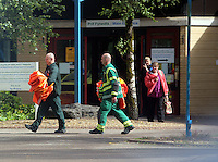 Pictured: Rescue staff at Ystradgynlais Hospital, Powys, Wales UK. Wednesday 29 June 2016<br /> Re: Rescuers have found a number of the 24 children who went missing the Brecon Beacons.<br /> Dyfed-Powys Police said a Coastguard helicopter had found some the children, who are from St Albans, Hertfordshire.<br /> The helicopter has landed and the crew are with the children, but their condition is not known.<br /> The alarm was raised at about 13:00 BST after the groups went missing around Llyn y Fan Fach, near Abercraf.<br /> The children are in their mid teens and were on the beacons as part of their Duke of Edinburgh Award.<br /> Mark Moran from Central Beacons Mountain Rescue said his team had been in intermittent phone contact with the four groups of six children before the first group were found.
