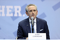CHAPEL HILL, NC - APRIL 6: UNC Athletic Director Bubba Cunningham during the Hubert Davis (not pictured) introductory press conference at Dean E. Smith Center on April 6, 2021 in Chapel Hill, North Carolina.