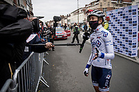 Cecilie Uttrup Ludwig (DEN/FDJ Nouvelle Aquitaine Futuroscope) interviewed at the race start in Denain<br /> <br /> Inaugural Paris-Roubaix Femmes 2021 (1.WWT)<br /> One day race from Denain to Roubaix (FRA)(116.4km)<br /> <br /> ©kramon