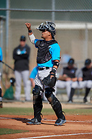 Miami Marlins catcher Rodrigo Vigil (48) during a Minor League Spring Training Intrasquad game on March 28, 2019 at the Roger Dean Stadium Complex in Jupiter, Florida.  (Mike Janes/Four Seam Images)