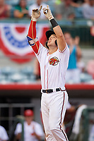 Florida Fire Frogs catcher Brett Cumberland (28) points to the sky as he crosses home plate after hitting a home run in the bottom of the fifth inning during a game against the Daytona Tortugas on April 7, 2018 at Osceola County Stadium in Kissimmee, Florida.  Daytona defeated Florida 4-3.  (Mike Janes/Four Seam Images)