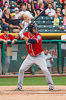 Daniel Paolini (8) of the Tacoma Rainiers at bat against the Salt Lake Bees in Pacific Coast League action at Smith's Ballpark on September 1, 2015 in Salt Lake City, Utah. The Bees defeated the Rainiers 10-1.  (Stephen Smith/Four Seam Images)
