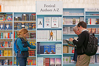 Pictured: People browse in the book shop.<br /> Re: Hay Festival at Hay on Wye, Powys, Wales, UK. Friday 25 May 2018
