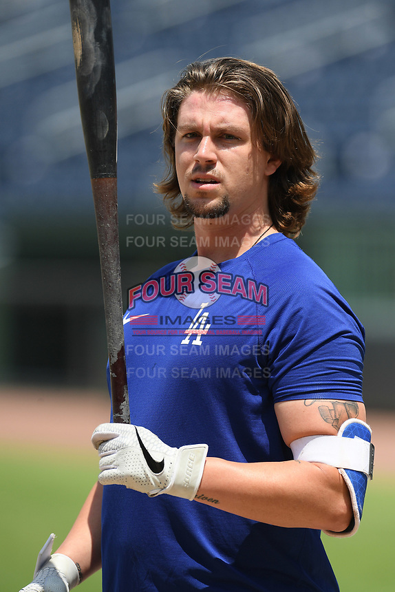 Dodgers minor leaguer Catcher Chase Barbary works out with other Major League and Minor League players from around the region on Tuesday, June 2, 2020, at Fluor Field at the West End in Greenville, South Carolina, as team workouts remain shut down. Barbary played for Newberry College and Spartanburg Methodist College. (Tom Priddy/Four Seam Images)