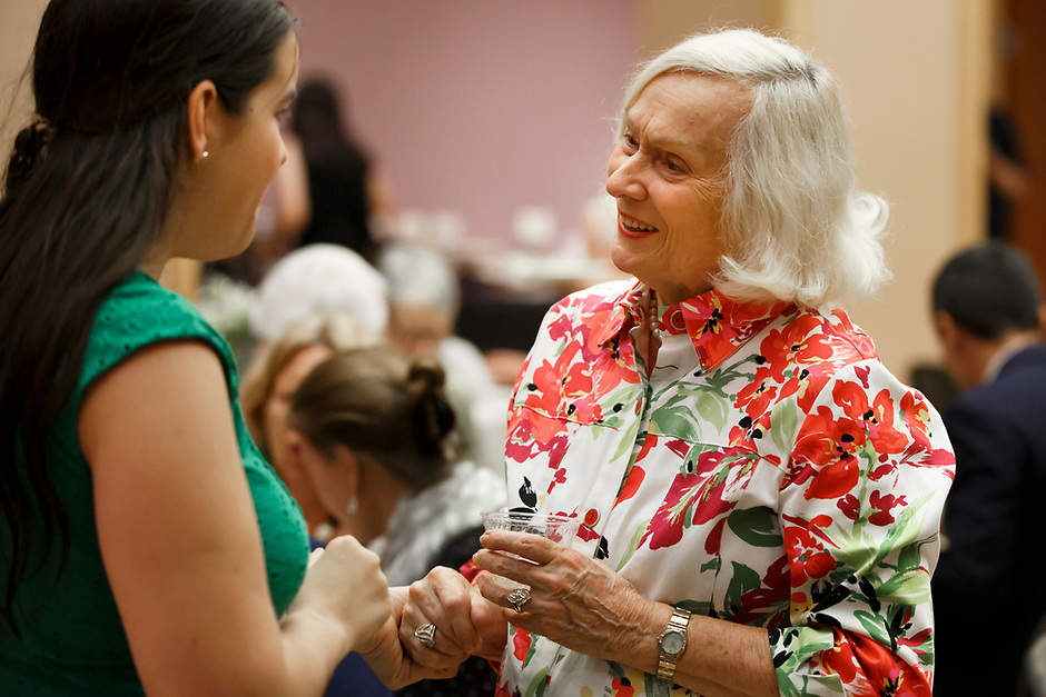 USA International Harp Competition Founder and Artistic Director Susann McDonald mingles with an acquaintance during the opening reception and dinner of the 11th USA International Harp Competition at Indiana University in Bloomington, Indiana on Wednesday, July 3, 2019. (Photo by James Brosher)