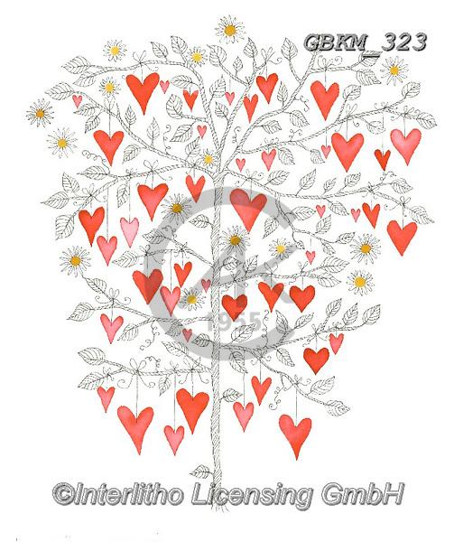 Kate, WEDDING, HOCHZEIT, BODA, valentine, Valentin, paintings+++++Hearts tree 1,GBKM323,#W#,#V#, EVERYDAY ,valentine,hearts