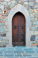 Castle door at Castello di Amorosa. Napa Valley, California. Property relased