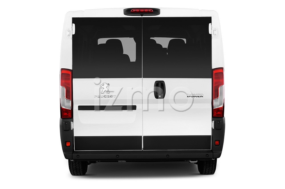 Straight rear view of a 2018 Peugeot Boxer Active 4 Door Combi stock images