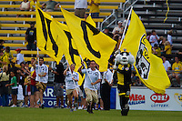27 MAY 2009: The Crew Cat takes the field at the start of the  San Jose Earthquakes at Columbus Crew MLS game in Columbus, Ohio on May 27, 2009.