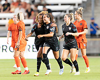 Casey Krueger #6 of the Chicago Red Stars celebrates her goal in the second half with Danielle Colaprico #24 during a game between Chicago Red Stars and Houston Dash at BBVA Stadium on September 10, 2021 in Houston, Texas.