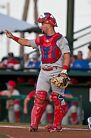 Catcher Cameron Rupp #51 of the Clearwater Threshers during the game against the Daytona Cubs at Jackie Robinson Ballpark on May 1, 2012 in Daytona Beach, Florida. (Scott Jontes/Four Seam Images)