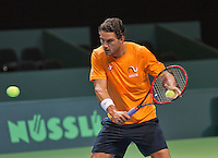 Swiss, Genève, September 14, 2015, Tennis,   Davis Cup, Swiss-Netherlands, practise Dutch team, Jesse Huta Galung<br /> Photo: Tennisimages/Henk Koster