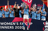 1st November 2020; Wembley Stadium, London, England; Womens FA Cup Final Football, Everton Womens versus Manchester City Womens; Steph Houghton of Manchester City Women jumping as she lifts the Womens FA Cup Final Trophy