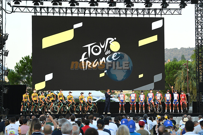 Team Jumbo-Visma and Groupama-FDJ on stage at the team presentation before the Tour de France 2020, Nice, France. 27th August 2020.<br /> Picture: ASO/Alex Broadway | Cyclefile<br /> All photos usage must carry mandatory copyright credit (© Cyclefile | ASO/Alex Broadway)