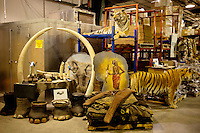 Various animal parts, including whole stuffed tigers, elephant's feet and ivory, are seen in a repository of the U.S. Fish & Wildlife Service in Denver after having been seized by US Customs.