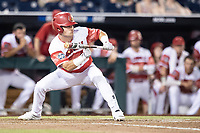 Louisville Cardinals designated hitter Danny Oriente (9) squares to bunt during Game 10 of the NCAA College World Series against the Mississippi State Bulldogs on June 20, 2019 at TD Ameritrade Park in Omaha, Nebraska. Louisville defeated Mississippi State 4-3. (Andrew Woolley/Four Seam Images)