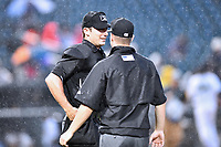 South Atlantic League umpires Matt Brown and Sam Burch during the South Atlantic League All Star Game at Spirit Communications Park on June 20, 2017 in Columbia, South Carolina. The game ended in a tie 3-3 after seven innings. (Tony Farlow/Four Seam Images)
