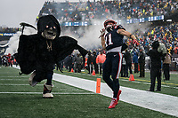 FOXBOROUGH, MA - OCTOBER 27: New England Patriots Wide Receiver Julian Edelman #11 signals to fans are the players run onto field in a Halloween themed game during a game between Cleveland Browns and New Enlgand Patriots at Gillettes on October 27, 2019 in Foxborough, Massachusetts.