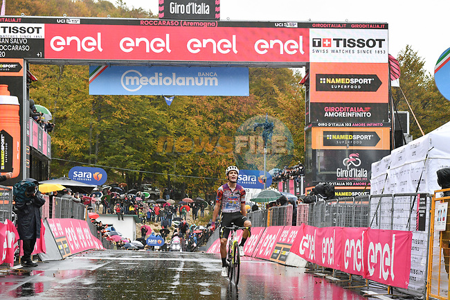 Ruben Guerreiro (POR) EF Pro Cycling wins solo Stage 9 of the 103rd edition of the Giro d'Italia 2020 running 208km from San Salvo to Roccaraso (Aremogna), Sicily, Italy. 11th October 2020.  <br /> Picture: LaPresse/Massimo Paolone | Cyclefile<br /> <br /> All photos usage must carry mandatory copyright credit (© Cyclefile | LaPresse/Massimo Paolone)