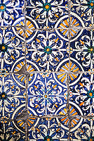 Ceramics, Sidi Bou Said, Tunisia.  Tiles in the Garden of the Residence of the Baron d'Erlanger, 80 years in place.  (At least one repair seems evident.)