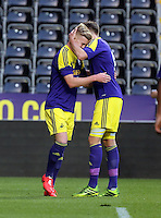 Thursday, 16 April 2014<br /> Pictured: Adam King of Swansea (L) celebrating his goal.<br /> Re: FAW Youth Cup Final, Swansea City FC v The New Saints FC at the Liberty Stadium, south Wales,
