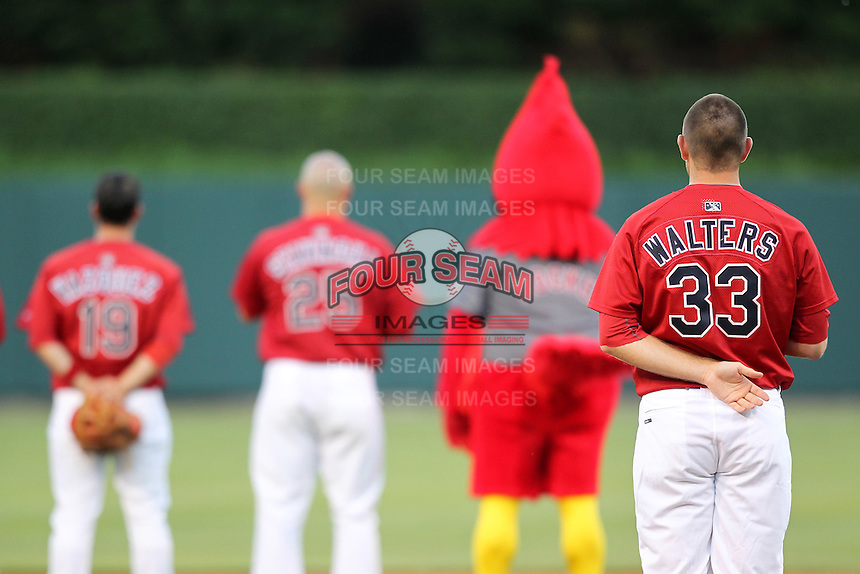 Memphis Redbirds pitcher P.J. Walters #33 standing for the national anthem during a game versus the Round Rock Express at Autozone Park on April 29, 2011 in Memphis, Tennessee.  Round Rock defeated Memphis by the score of 5-4 in 13 innings.  Photo By Mike Janes/Four Seam Images