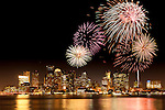 Fireworks over Boston Harbor, Boston, Maine, USA