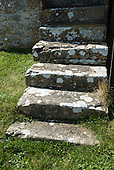 East Ogwell, Devon, England. Steps to the old tower of St Bartholomew's church.