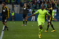 Sanna Nyassi(23) celebrates his first goal in the Seattle Sounders win over the Columbus Crew 2-1 for the 2010 US Open Cup Championship at the XBox 360 Pitch at Quest Field in Seattle, WA on October 5, 2010.