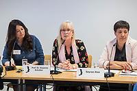 """Pressekonferenz der Menschenrechtsorganisation """"Terre des Femmes"""" am Donnerstag den 23. August 2018 in Berlin, anlaesslich ihrer Petition """"Den Kopf frei haben!"""", die sich fuer ein Verbot des sogenannten """"Kinderkopftuch"""" fuer Maedchen unter 18 Jahren einsetzt. Fuer Terre des Femmes ist das Kinderkopftuch der Missbrauch von Kindern fuer eine Religion und eine Kinderrechtsverletzung.<br /> Ziel der Unterschriftensammlung fuer die Petition sind 100.000 Unterschriften.<br /> Im Bild vlnr.: Nina Coenen, Terre des Femmes; Prof. Dr. Susanne Schroeter, Direktorin des Frankfurter Forschungszentrum Globaler Islam; Seyran Ates, Rechtsanwaeltin und Imamin an der liberalen Ibn-Rushd-Goethe-Moschee in Berlin.<br /> 23.8.2018, Berlin<br /> Copyright: Christian-Ditsch.de<br /> [Inhaltsveraendernde Manipulation des Fotos nur nach ausdruecklicher Genehmigung des Fotografen. Vereinbarungen ueber Abtretung von Persoenlichkeitsrechten/Model Release der abgebildeten Person/Personen liegen nicht vor. NO MODEL RELEASE! Nur fuer Redaktionelle Zwecke. Don't publish without copyright Christian-Ditsch.de, Veroeffentlichung nur mit Fotografennennung, sowie gegen Honorar, MwSt. und Beleg. Konto: I N G - D i B a, IBAN DE58500105175400192269, BIC INGDDEFFXXX, Kontakt: post@christian-ditsch.de<br /> Bei der Bearbeitung der Dateiinformationen darf die Urheberkennzeichnung in den EXIF- und  IPTC-Daten nicht entfernt werden, diese sind in digitalen Medien nach §95c UrhG rechtlich geschuetzt. Der Urhebervermerk wird gemaess §13 UrhG verlangt.]"""