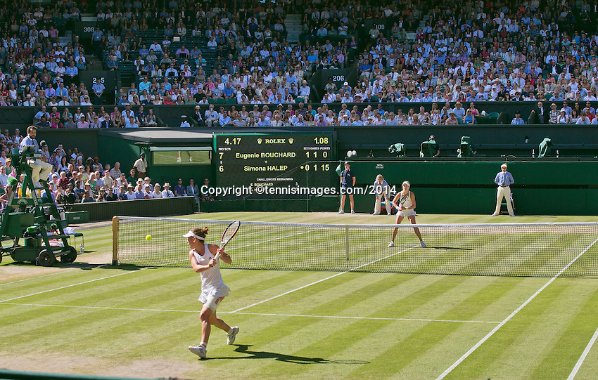 England, London, 28.06.2014. Tennis, Wimbledon, AELTC, Semifinal match between Eugenie Bouchard and Simone Halep, Pictured: Overall View<br /> Photo: Tennisimages/Henk Koster