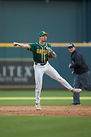 Baylor Bears shortstop Nick Loftin (2) makes a throw to first base against the LSU Tigers in game five of the 2020 Shriners Hospitals for Children College Classic at Minute Maid Park on February 28, 2020 in Houston, Texas. The Bears defeated the Tigers 6-4. (Brian Westerholt/Four Seam Images)