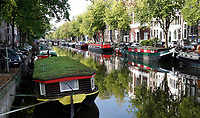 Nederland - Amsterdam- 2020.  Woonboot in de Keizersgracht heeft een groen dak.    Foto ANP / Hollandse Hoogte / Berlinda van Dam