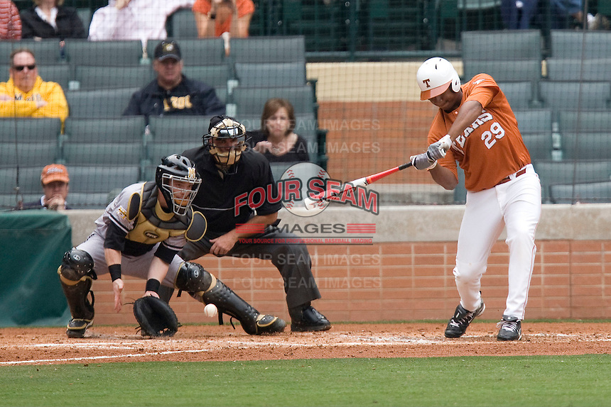 NCAA Baseball featuring the Texas Longhorns against the Missouri Tigers. Keyes, Kevin 4973  at the 2010 Astros College Classic in Houston's Minute Maid Park on Sunday, March 7th, 2010. Photo by Andrew Woolley