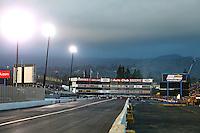 Feb 11, 2017; Pomona, CA, USA; Overall view of Auto Club Raceway at Pomona during NHRA qualifying for the Winternationals. Mandatory Credit: Mark J. Rebilas-USA TODAY Sports