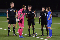 Referee is asking for her decision to captain goalkeeper Justien Odeurs (13) of Anderlecht at the coin toss during a female soccer game between  Racing Genk Ladies and Royal Sporting Club Anderlecht , a delayed game from the 1st  matchday of the 2021-2022 season of the Belgian Scooore Womens Super League , tuesday 28 September 2021  in Genk , Belgium . PHOTO SPORTPIX | JILL DELSAUX