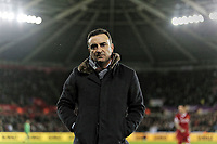 Swansea manager Carlos Carvalhal stands on the touch line during the Premier League match between Swansea City and Liverpool at The Liberty Stadium, Swansea, Wales, UK. Monday 23 January 2018