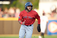 Jonathan Ortega (16) of the Salem Red Sox hustles towards third base against the Fayetteville Woodpeckers at Segra Stadium on May 15, 2019 in Fayetteville, North Carolina. The Woodpeckers defeated the Red Sox 6-2. (Brian Westerholt/Four Seam Images)