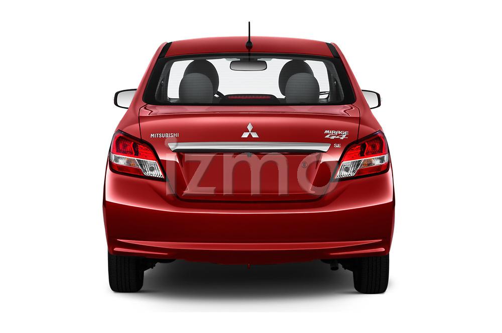 Straight rear view of 2020 Mitsubishi Mirage-G4 SE 4 Door Sedan Rear View  stock images