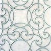 Abigail, a handmade mosaic shown in honed Afyon White, Infinity Serenity glass, and Shell, is part of the Parterre Collection by Paul Schatz for New Ravenna.