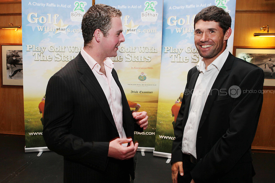NO REPRO FEE. Pádraig Harrington and Bóthar's Golf With Stars.Brefney Morgan and  Pádraig Harrington and Malcom O Kelly are pictured at the K Club for Bóthar's Golf With Stars.  Sporting stars from all disciplines took to the greens of the K Club yesterday, Friday, October 22nd to play a round of golf with members of the general public who won places through Bóthar's Golf With Stars. The winners received their prizes from Pádraig Harrington in a ceremony yesterday evening. Proceeds from the raffle will go to towards supporting Bóthar's projects in Pakistan. For further information phone 1850 82 99 99 or log onto bothar.org. Picture James Horan/Collins Photos