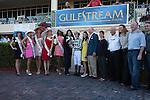Centre Court with jockey Julien Leparoux after winning the Honey Fox(G2T) at Gulfstream Park, Hallandale Beach Florida. 03-15-2014