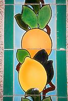 Europe/France/06/Alpes-Maritimes/Menton: Citrons sur les Céramiques polychromes du Jardin de Fontana Rosa de l'écrivain espagnol Vicente Blasco Ibanez.<br /> Son atmosphère sont proches de ceux régnant dans les jardins arabo-persans et andalous