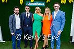 Enjoying the Ladies Day at the Listowel Races on Friday, l to r: David Bell (Mayo), Michael Kirby (Duagh), Molly O'Mara (Tipperary), Jana Finucane (Listowel) and Jason Lynch (Athea).